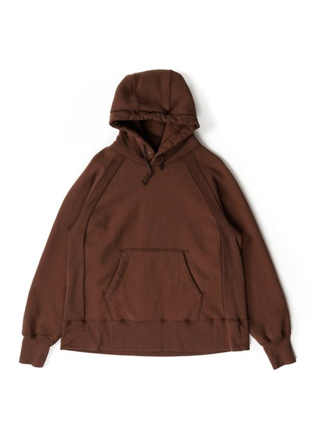 Engineered Garments Cotton Heavy Fleece Raglan Hoody - Brown