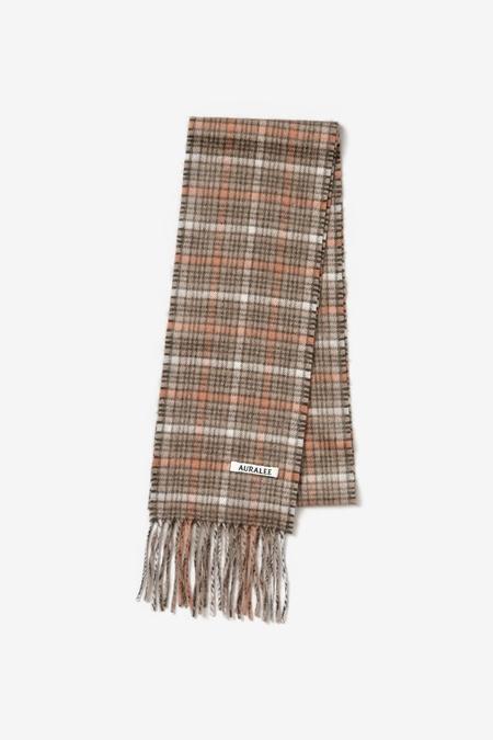 Auralee Cashmere Narrow Stole scarf - Orange Check