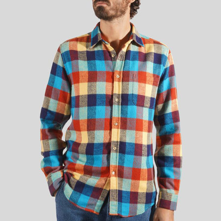 Portuguese Flannel Performance Check Long Sleeve Shirt - Red/Blue