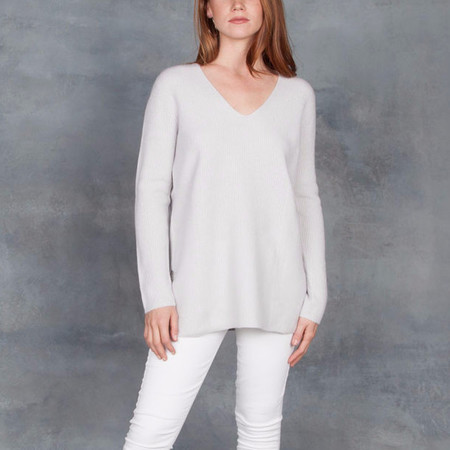 Duffy Ice Maiden Pullover V-Neck Sweater Cashmere