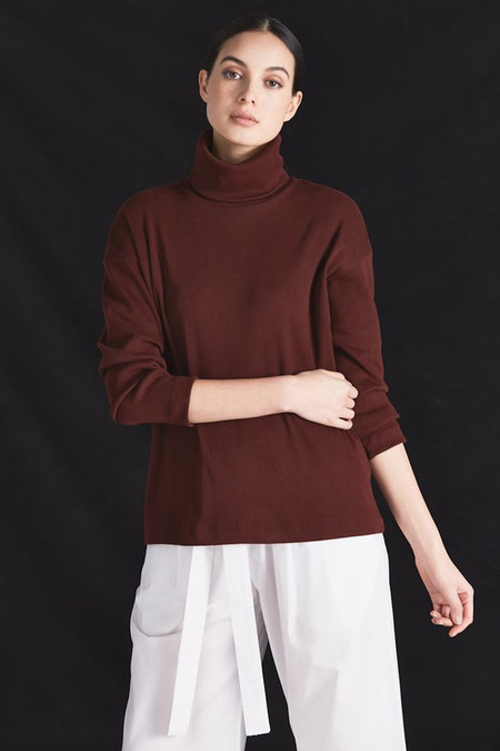 Kowtow Building Block Rib Roll Neck Top (Burgundy)