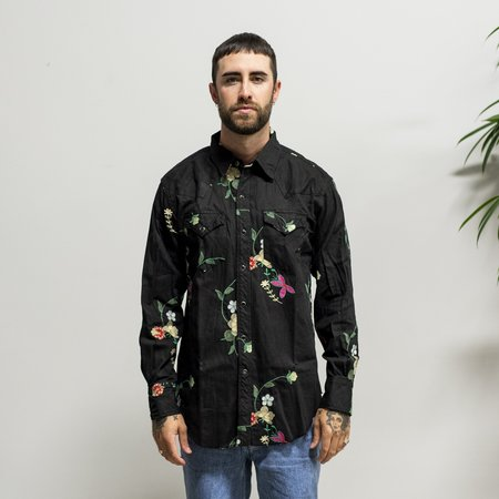 Engineered Garments Combo Western Shirt Black W/ - Multi Color Floral Embroidery