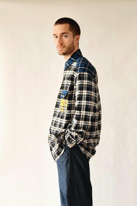 UQNATU Plaid Flannel Boxy Shirt - Blue Collar