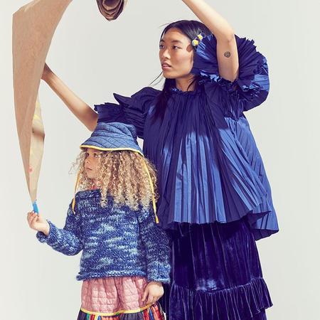 Kids Tia Cibani Kids Woman Crush Pleated Smock Blouse - Licorice Blue