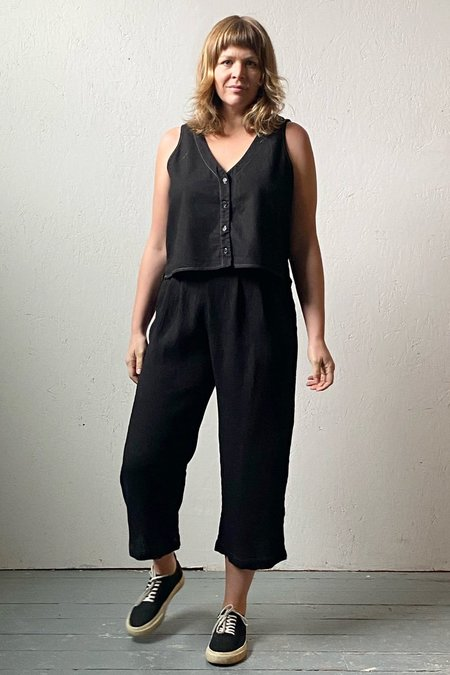 North Of West Recycled Linen Reversible Button Tank - Black