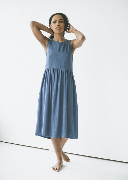 Amanda Moss - Adeline Dress in Pinstripe Blue