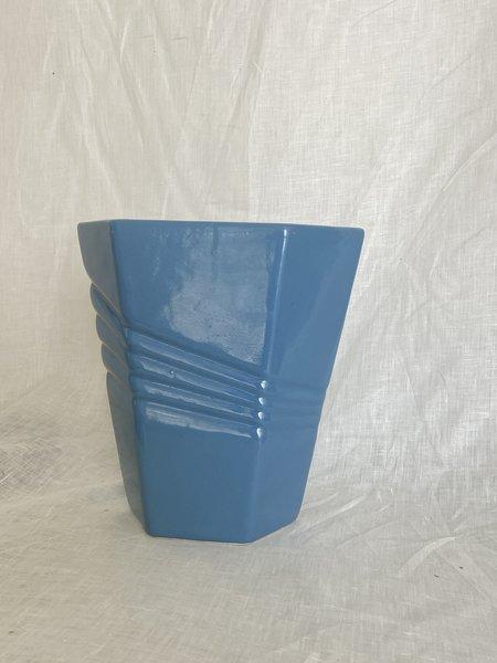 Vintage 80s Art Deco Vase - Blue
