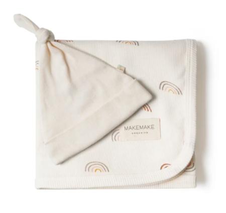 MakeMake Organics Swaddle Blanket/Hat Set Boho Rainbow