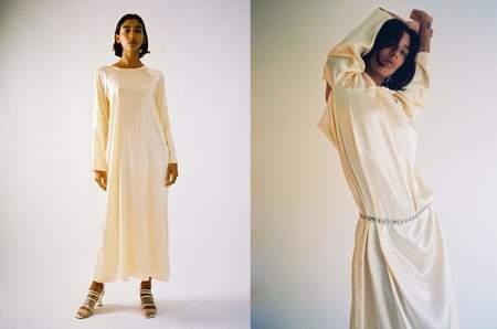 Baserange Zab Dress - Butter/Light Peach