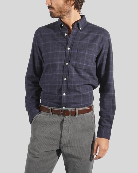 Portuguese Flannel Inside Heather Shirt - Black/Blue