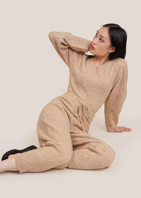 AMOMENTO Yak Knit Pants - beige