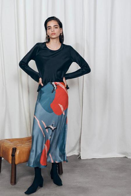 Silk Laundry Long Bias Cut Skirt - Flying Crane