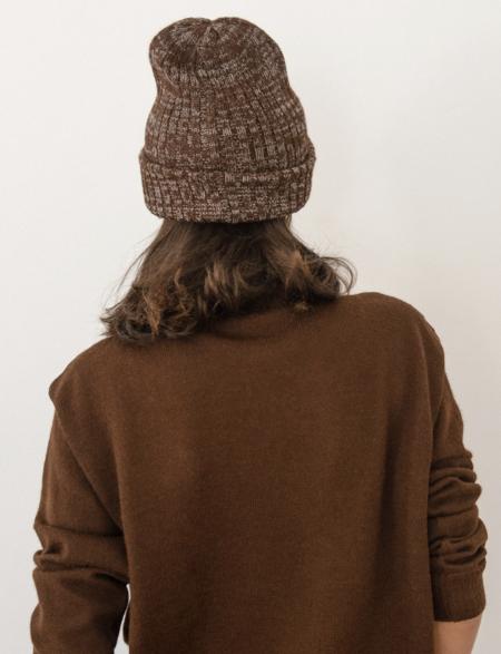 Wol Hide Marble Rib Hat - Sepia