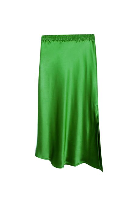 KES Bias Asymmetric Slit Skirt - Green Rose