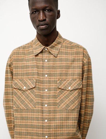 Auralee Silk Cotton Brushed Flannel top - Orange Check