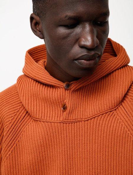 Auralee Super Fine Wool Rib Knit Big P/O Parka - Orange