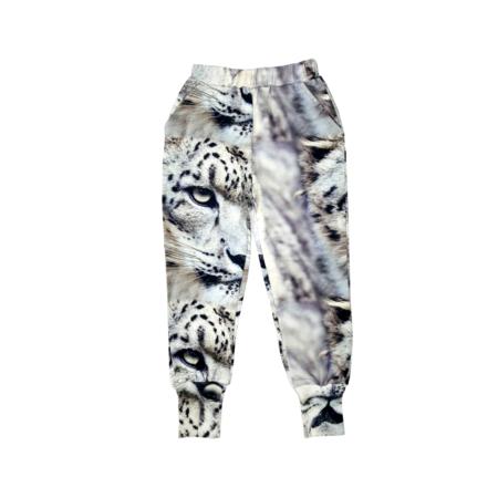 kids unisex Romey Loves Lulu Snow Leopard Sweatpants - gray