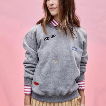 Clare V. SWEATSHIRT -  Grey w/ Embroidery