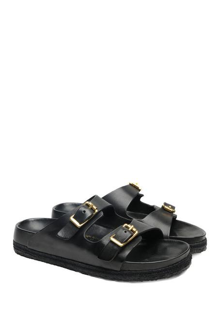 Unisex YUKETEN Leather Arizonian Sandal - black