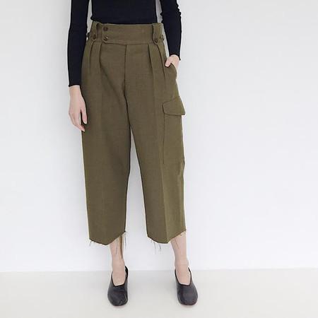 Johan Vintage Army Green Wool Pant