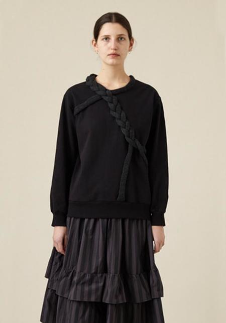 Correll Correll Zopf Braid Detail Sweatshirt Pullover - Black