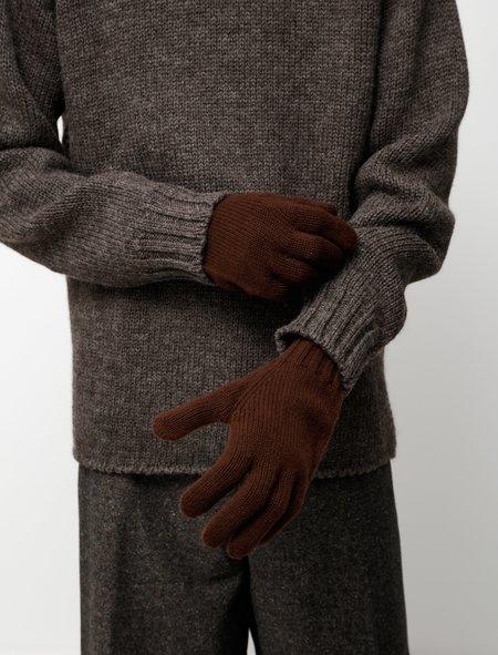 Margaret Howell Long Cuff Glove - Merino Cashmere Mahogany