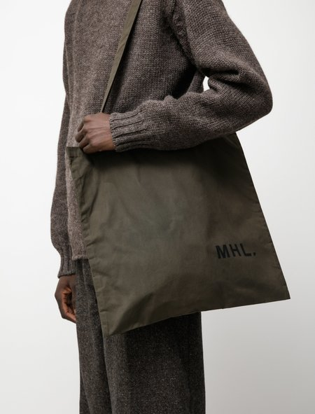Margaret Howell MHL Shopper Bag - Washed Waxed Cotton Dark Khaki