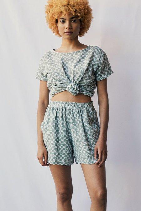 at Dawn. Sun Checkered Gauze Easy Shorts