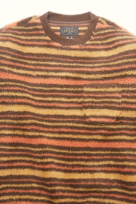 Beams Plus Fleece Crew Stripe Sweatshirt  - BROWN