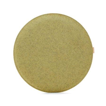 Graf Lantz Zabuton Bi-Color Round Felt Seat Pad - Sage/Champagne