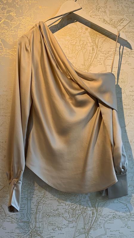 Jonathan Simkhai Alice Cold Shoulder Blouse - Beige