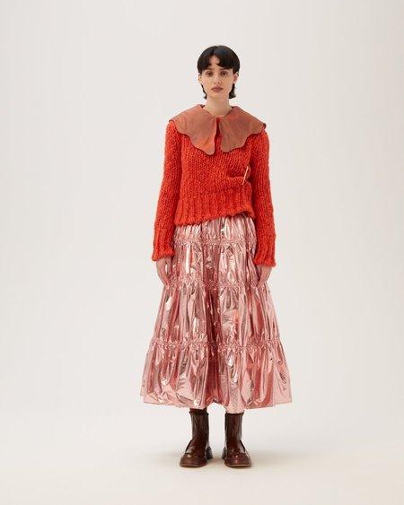 Rejina Pyo Eve Skirt - Lamé Metallic Pink