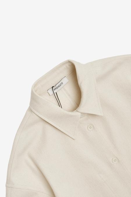AMOMENTO  Cotton Twill Round Shape Shirts Jacket - ecru
