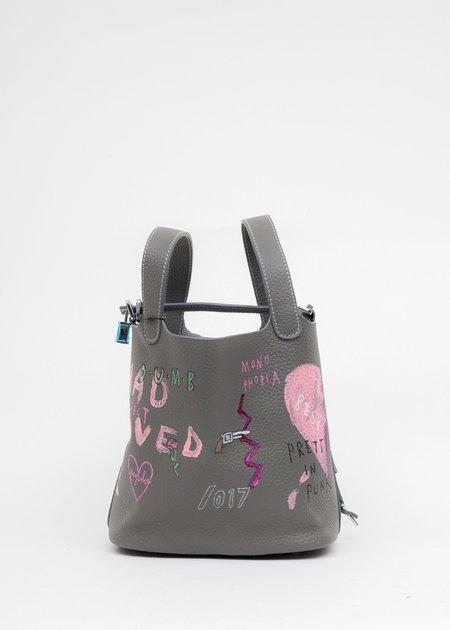 Grey Paint Cube Bag (Small) -(Broken Heart)
