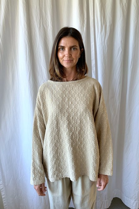 Black Crane Quilted Pullover - Natural
