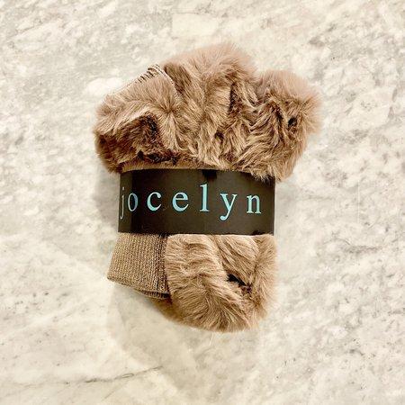 Jocelyn Faux Fur Pull Through Scarf & Texty Time Mitten Set - Mocha
