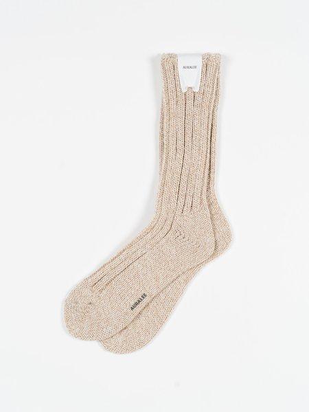 Auralee Wool Tweed Low Gauge Socks - Ivory/Beige