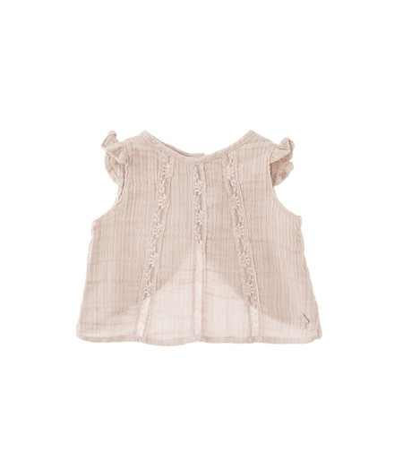 Tocoto Vintage Lace Sleeveless Blouse in Pink