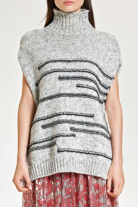 Maliparmi Knitted Cape pullover  - Grey