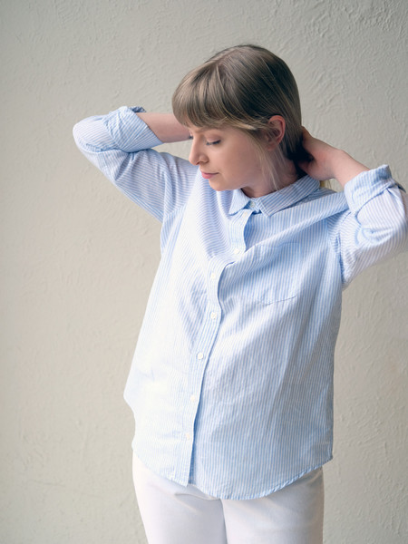 Corridor Linen Button Up in Blue Stripe