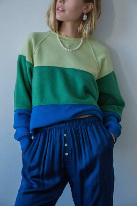 Vintage Fleece Tri-Crew Sweatshirt in Lime/Hunter/Blueberry