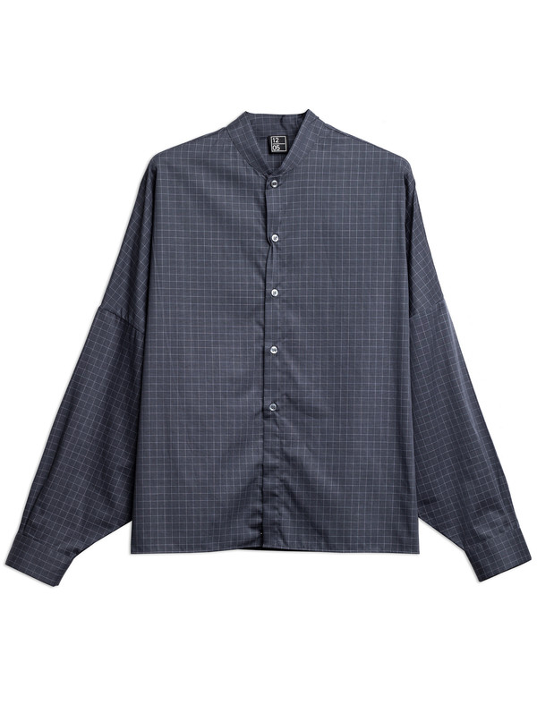 1205 Womens Shawl Collar Shirt Grid