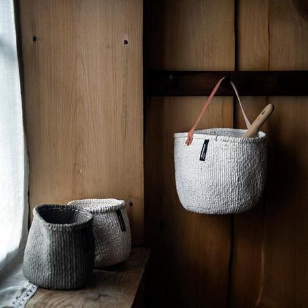 Mifuko Kiondo Small Basket With Handle - White