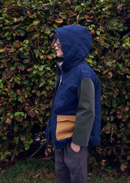 Kids Caramel Beaton Coat - Navy Twill