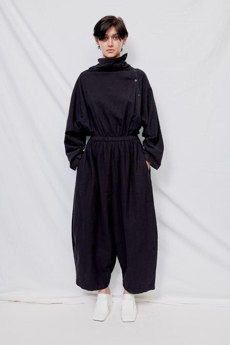 Black Crane Cotton Flannel Tube Jumpsuit - Black