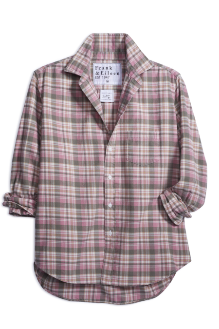 Frank and Eileen Eileen Flannel top - Pink/Grey Plaid