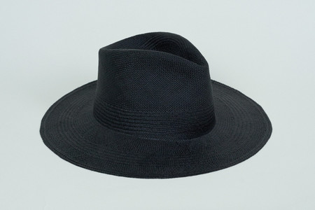 Clyde Wide Brim Pinch Panama Hat in Black