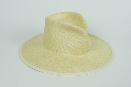Clyde Wide Brim Pinch Panama Hat in Lemon