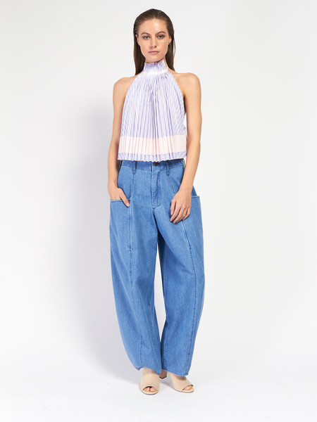 Adam Selman Backless Pleated Trapeze Top