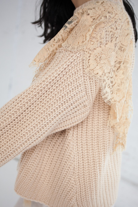 Ryan Roche Oversized Sweater with Lace Insert in Wheat